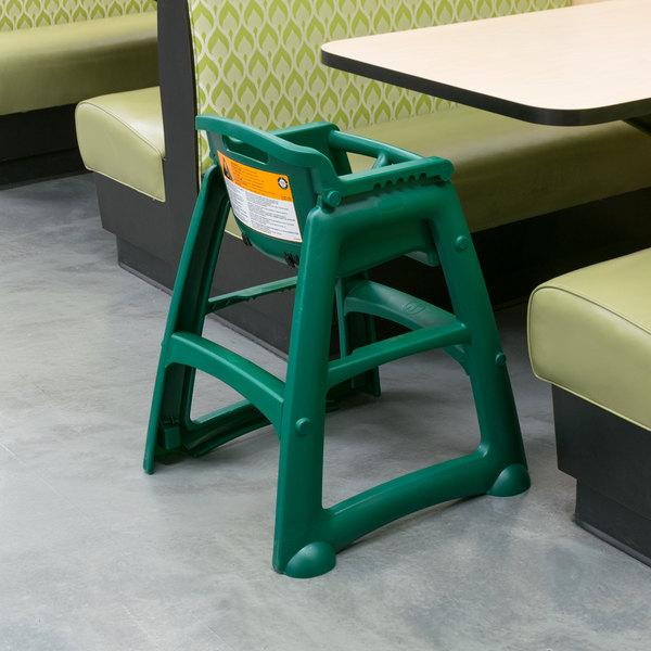 Rubbermaid FG780608DGRN Green Restaurant High Chair without Wheels - Assembled