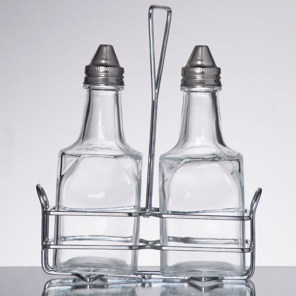 3 Piece Oil And Vinegar Cruet Set With Rack To Provide Garlic Infused For Dipping Breads House Made Dressing Salads Or Crispy Fries