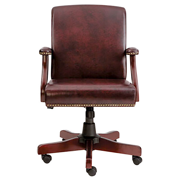 Alera ALETD4236 Traditional Mid-Back Oxblood Vinyl Office Chair with Fixed Arms and Mahogany Swivel Wood Base Main Image 1