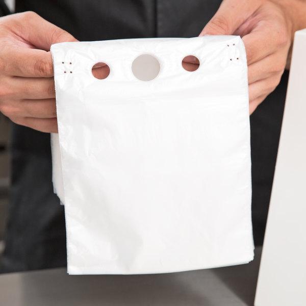 "Choice 6 1/2"" x 6 1/4"" Unprinted Plastic Deli Saddle Bag with Flip Top - 2000/Case"
