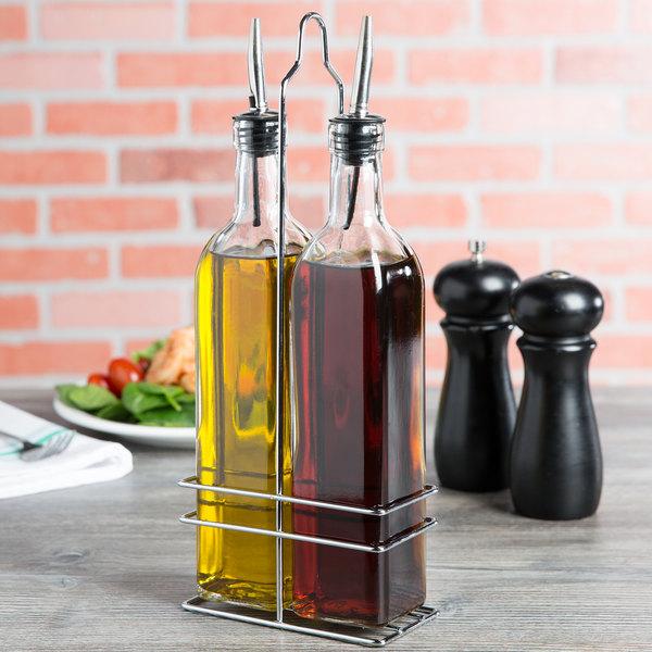 Choice 16 oz. 3 Piece Oil & Vinegar Cruet Set with Rack Main Image 7