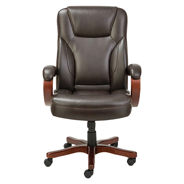 Alera ALETS4159W Transitional Chocolate Marble Leather Office Chair with Fixed Arms and Walnut Wood Swivel Base Main Image 1