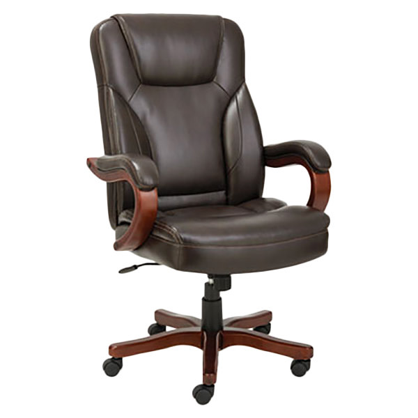 Cool Alera Alets4159W Transitional Chocolate Marble Leather Office Chair With Fixed Arms And Walnut Wood Swivel Base Ocoug Best Dining Table And Chair Ideas Images Ocougorg