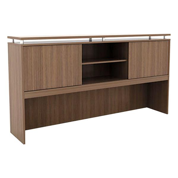 Alera Alese267215wa Sedina 72 X 15 42 1 2 Walnut Desk Hutch With Sliding Doors