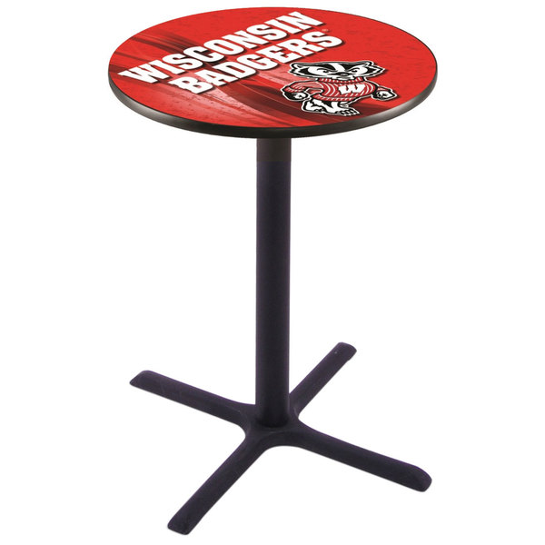 """Holland Bar Stool L211B4228WI-BDG-D2 28"""" Round University of Wisconsin Bar Height Pub Table"""