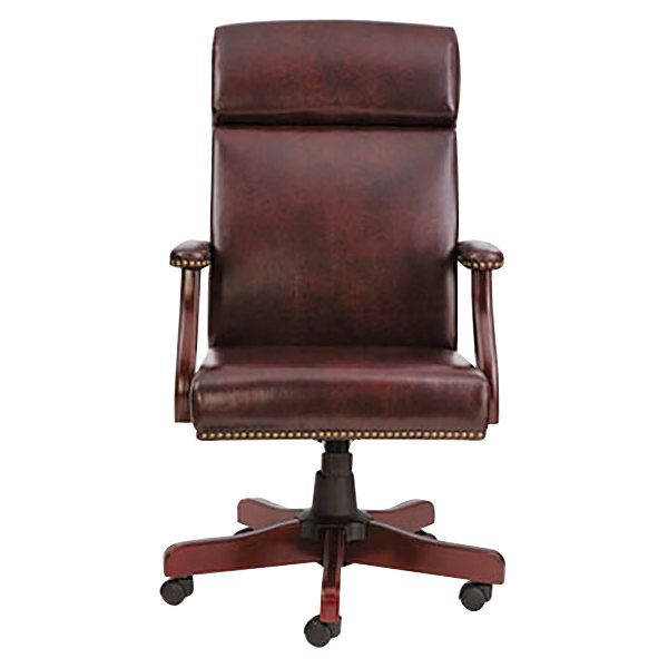 Alera Aletd4136 Traditional High Back Oxblood Vinyl Office Chair With Fixed Armahogany Swivel Wood Base