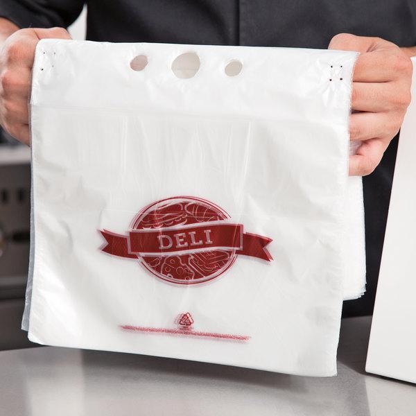"Choice 10 1/2"" x 8"" Printed Plastic Deli Saddle Bag with Flip Top - 2000/Case"