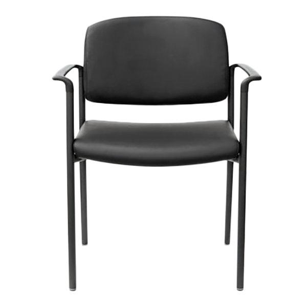 Alera ALEUT6816 Sorrento Black Stackable Leather Arm Chair - 2/Case Main Image 1
