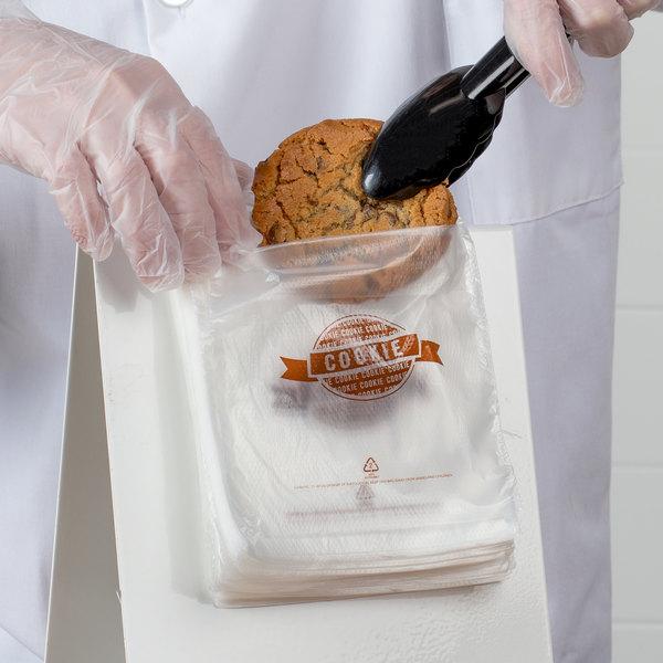 "5 1/2"" x 5 1/2 ""Cookie"" Printed Plastic Deli Saddle Bag with Flip Top - 2000/Case"