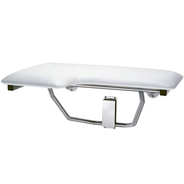 B-517 White Right-Handed Folding Shower Seat with Padded Cushion