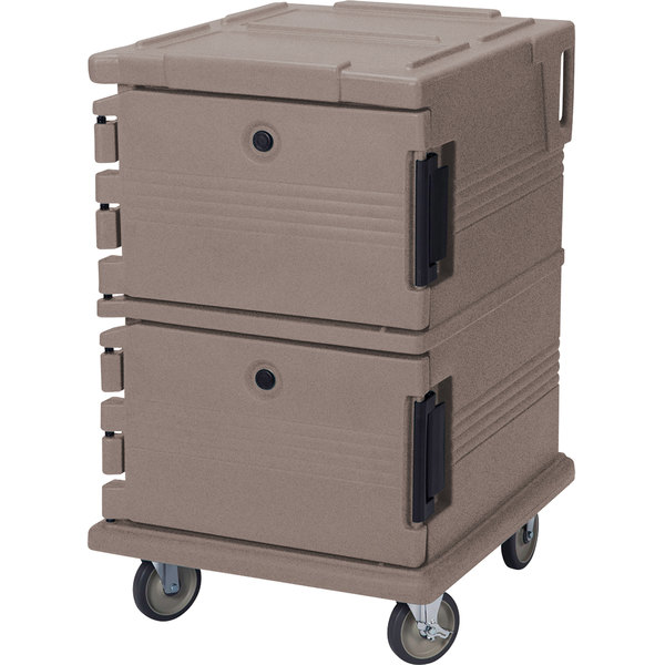 Cambro UPC1200194 Ultra Camcarts® Granite Sand Insulated Food Pan Carrier - Holds 16 Pans Main Image 1