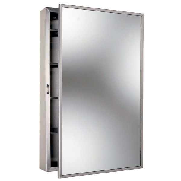Bobrick B 299 Stainless Steel Surface Mounted Mirrored Medicine Cabinet  With Satin Finish
