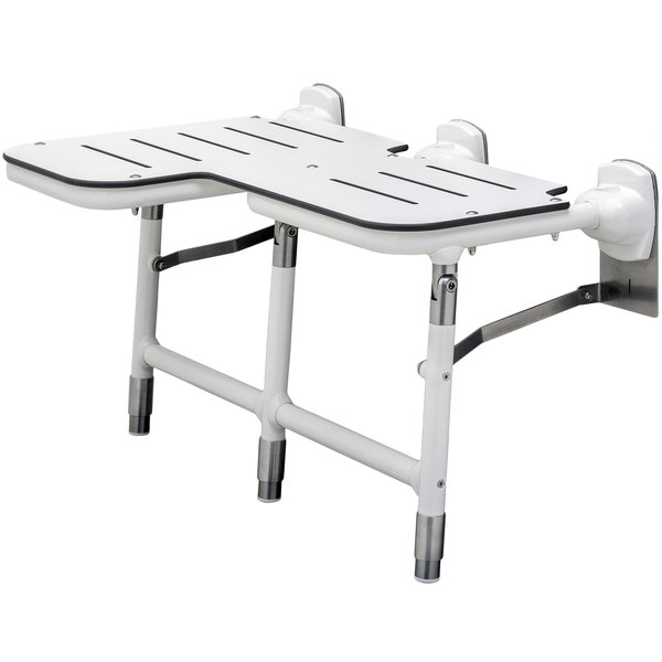 B-918116R White Right-Handed Bariatric Folding Shower Seat with Legs