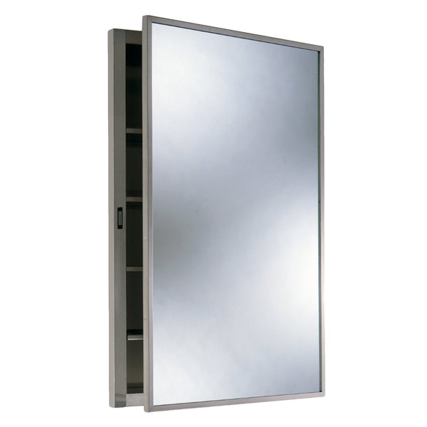 Bobrick B-398 Stainless Steel Recess Mounted Mirrored Medicine Cabinet with Satin Finish