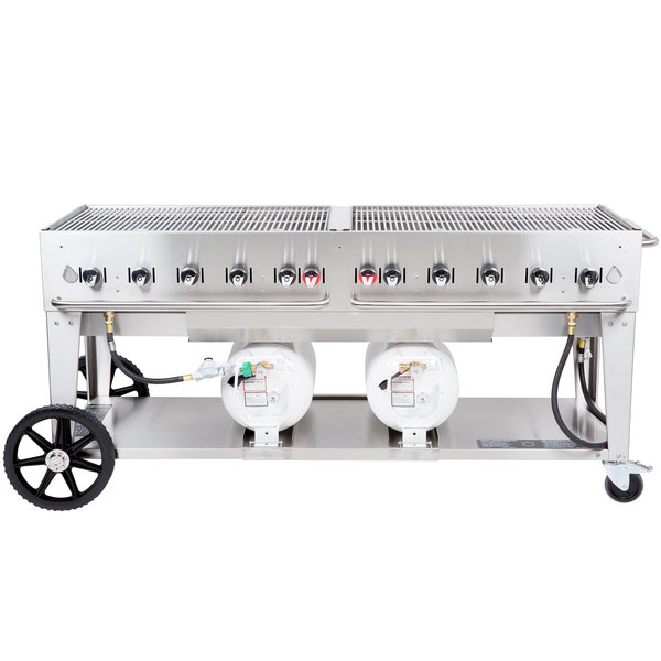"Crown Verity CCB-72-LP 72"" Outdoor Club Grill with 2 Horizontal Propane Tanks"