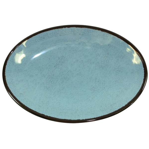 "Elite Global Solutions D8512OVM Mojave Vintage California 12 1/2"" x 8 1/2"" Cameo Blue Oval Crackle Plate - 6/Case"