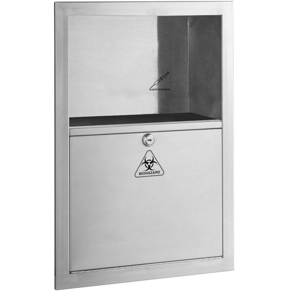 sharp disposal. bobrick b-35016 5.4 qt. stainless steel recessed sharp disposal