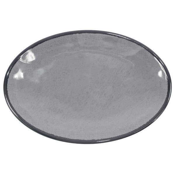 """Elite Global Solutions D8512OVM Mojave Vintage California 12 1/2"""" x 8 1/2"""" Gray Oval Crackle Plate - 6/Case"""