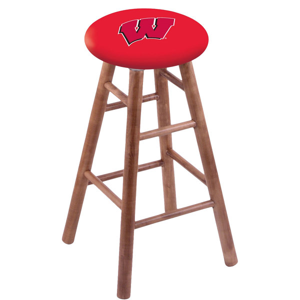 Holland Bar Stool RC30MSMedWisc-W University of Wisconsin Wood Bar Stool with Medium Finish