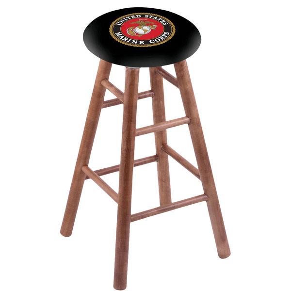 Holland Bar Stool RC30MSMedMarine United States Marine Corps Wood Bar Stool with Medium Finish Main Image 1