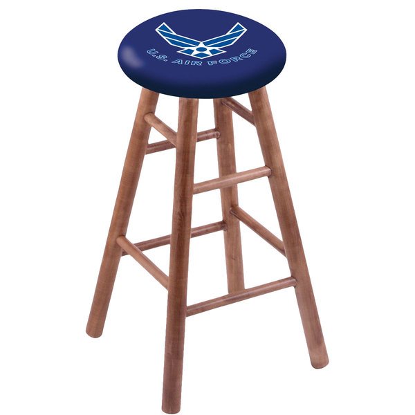 Holland Bar Stool RC30MSMedAirFor United States Air Force Wood Bar Stool with Medium Finish Main Image 1