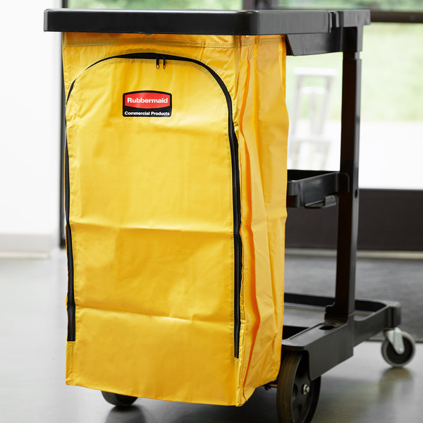 Rubbermaid 1966881 34 Gallon Yellow High Capacity Vinyl Janitor Cart Bag Main Image 3