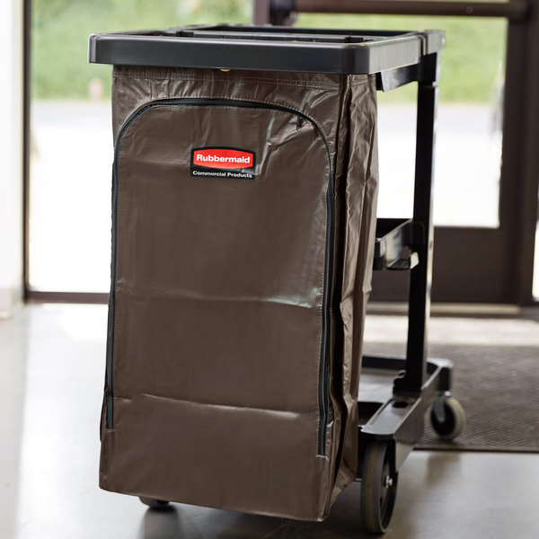 Rubbermaid 1966885 34 Gallon Brown High Capacity Vinyl Janitor Cart Bag