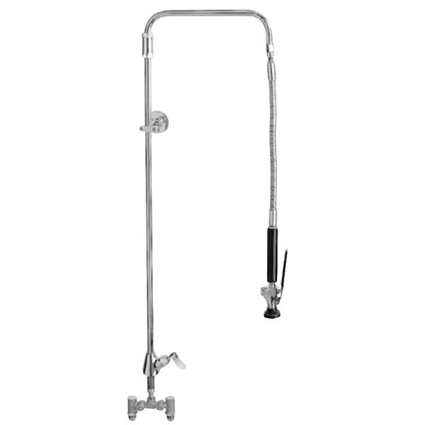 "Fisher 2011-WB Deck Mounted 37"" High Pre-Rinse Faucet with Temperature Control Valve, Swivel Arm, and Wall Bracket"