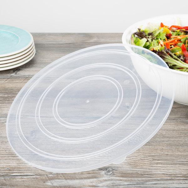"""Fineline C1400C.L ReForm 14"""" Clear Flat Plastic Catering Bowl Lid - 50/Case"""