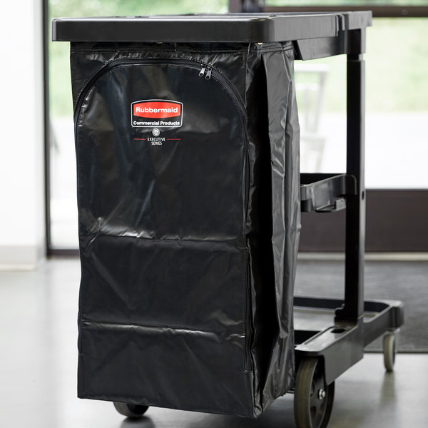 Rubbermaid 1966886 Executive 34 Gallon Black High Capacity Vinyl Janitor Cart Bag Main Image 3
