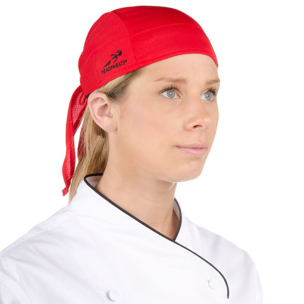 Headsweats Red Customizable Eventure Fabric Adjustable Chef Bandana / Do Rag Main Image 1
