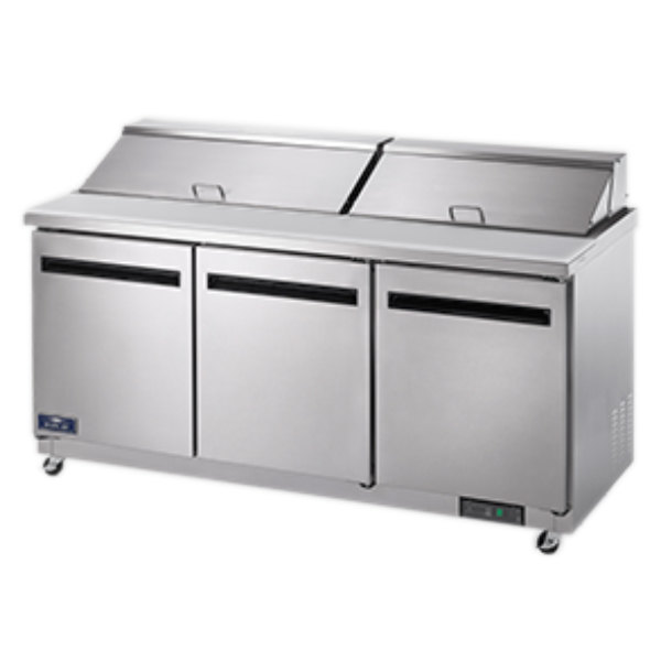 """Arctic Air AST72R 72"""" 3 Door Refrigerated Sandwich Prep Table Main Image 1"""