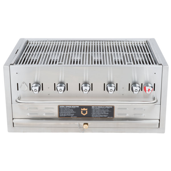 """Crown Verity BI-36 Natural Gas 36"""" Stainless Steel Built In Outdoor BBQ Grill / Charbroiler"""
