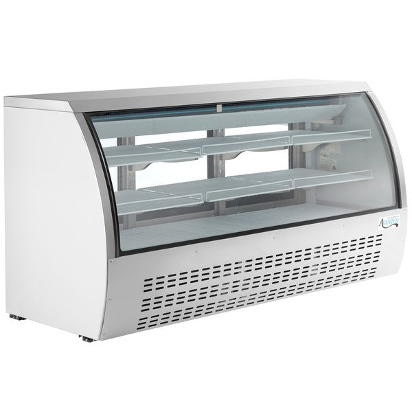 "Avantco DLC82-HC-W 82"" White Curved Glass Refrigerated Deli Case Main Image 1"