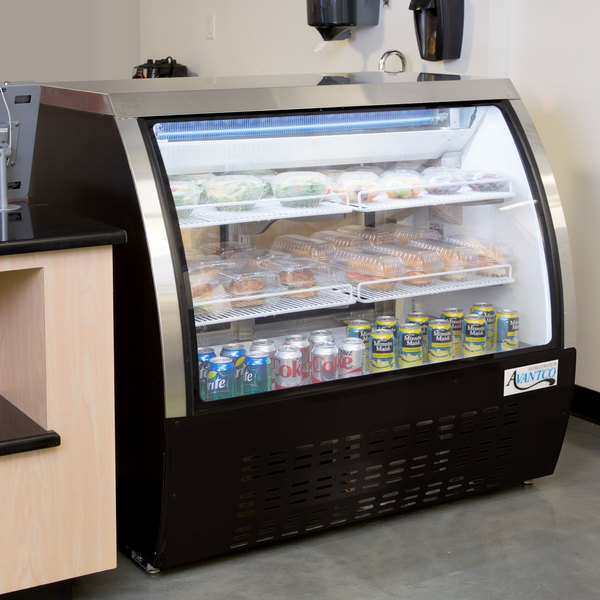 "Avantco DLC47-HC-B 47"" Black Curved Glass Refrigerated Deli Case"