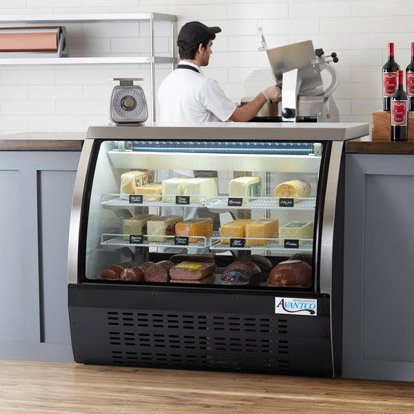 "Avantco DLC47-HC-B 47"" Black Curved Glass Refrigerated Deli Case Main Image 6"