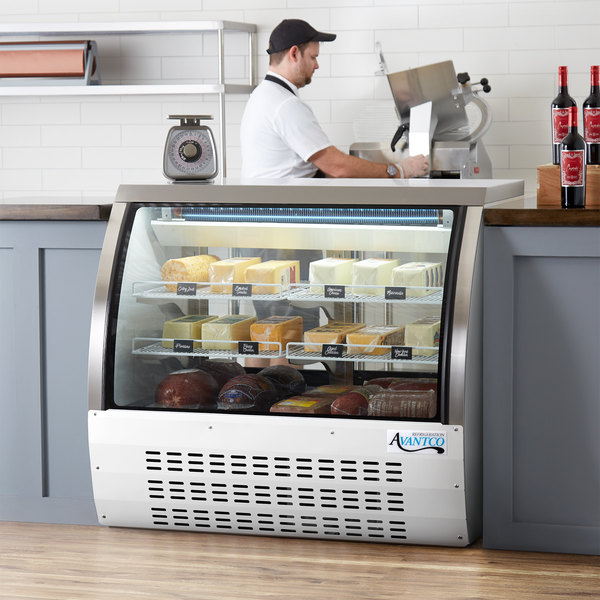 "Avantco DLC47-HC-W 47"" White Curved Glass Refrigerated Deli Case Main Image 6"