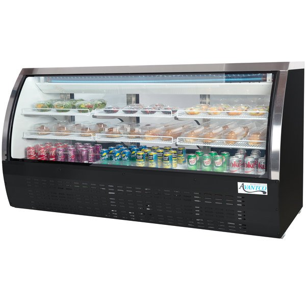 "Avantco DLC82-HC-B 82"" Black Curved Glass Refrigerated Deli Case"