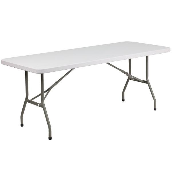 "Flash Furniture DAD-YCZ-183B-GW-GG 30"" x 72"" Granite White Heavy-Duty Molded Plastic Folding Table Main Image 1"