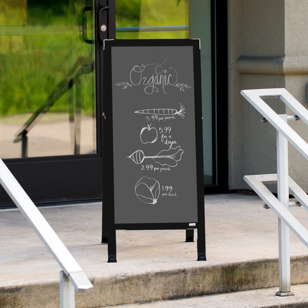 "Aarco BA-35SS 42"" x 18"" Black Aluminum A-Frame Sign Board with Slate Gray Write-On Porcelain Chalk Board"