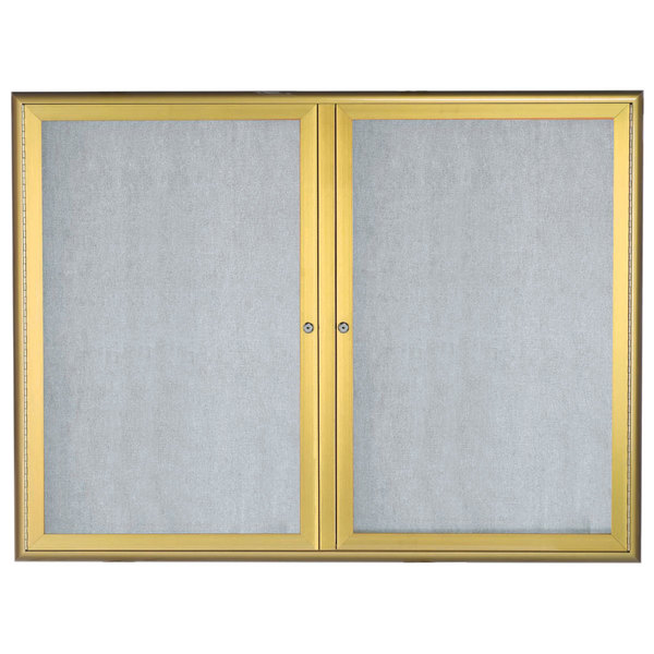 Aarco Owfc3648g 36 X 48 Gold Enclosed Aluminum Indoor Outdoor Bulletin Board With Waterfall Style Frame