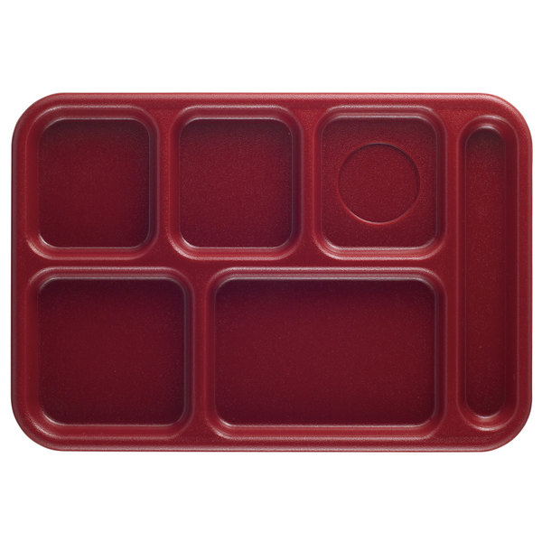 "Cambro 10146CW416 Camwear 10"" x 14 1/2"" Cranberry 6 Compartment Serving Tray - 24/Case"
