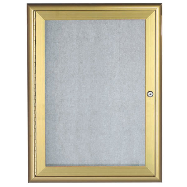 "Aarco OWFC3624G 36"" x 24"" Gold Enclosed Aluminum Indoor / Outdoor Bulletin Board with Waterfall Style Frame"