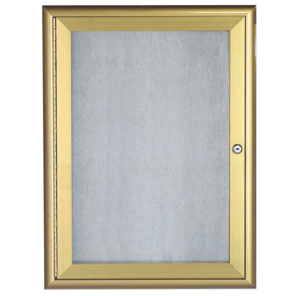 "Aarco OWFC2418G 24"" x 18"" Gold Enclosed Aluminum Indoor / Outdoor Bulletin Board with Waterfall Style Frame"