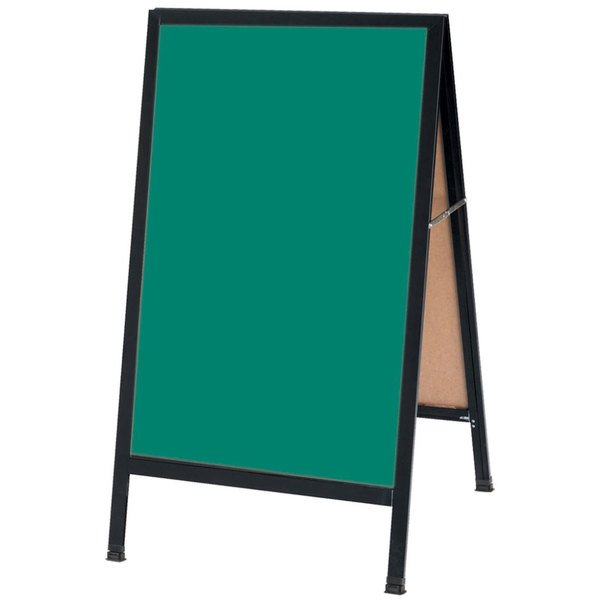 """Aarco BA-1SG 42"""" x 24"""" Black Aluminum A-Frame Sign Board with Green Write-On Porcelain Chalk Board"""