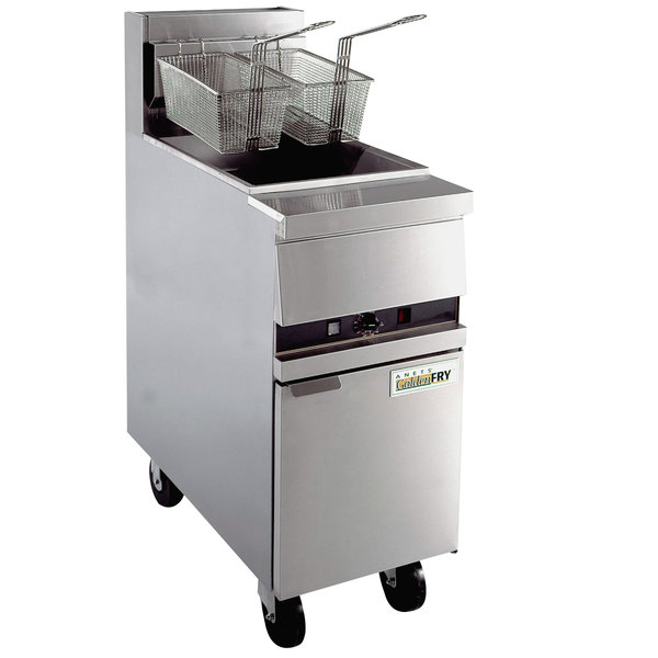 Anets MX-14XSSTC GoldenFry Natural Gas 35-50 lb. High Production Floor Fryer with Solid State Controls - 111,000 BTU