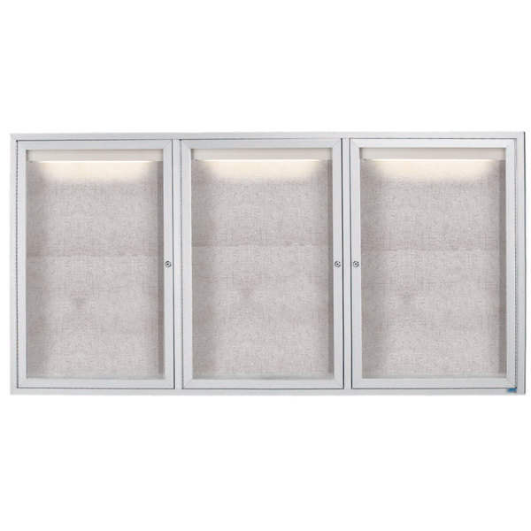 """Aarco LODCC3672-3R 36"""" x 72"""" Silver Enclosed Aluminum Indoor / Outdoor Bulletin Board with LED Lighting"""