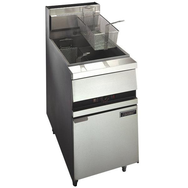 Anets 18E FRYERD GoldenFry Natural Gas 70-100 lb. Floor Fryer with Digital Controls - 150,000 BTU