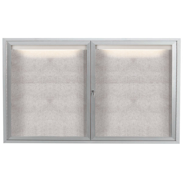 """Aarco LODCC3660R 36"""" x 60"""" Silver Enclosed Aluminum Indoor / Outdoor Bulletin Board with LED Lighting"""