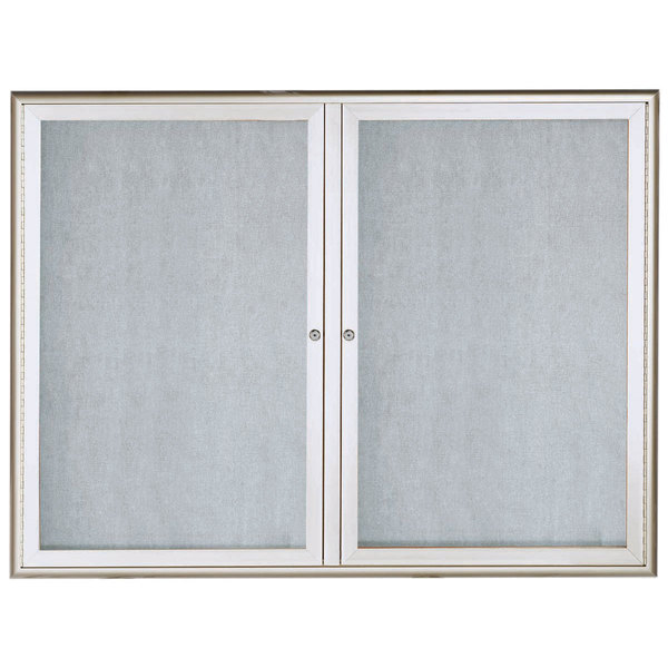 """Aarco OWFC3648 36"""" x 48"""" Silver Enclosed Aluminum Indoor / Outdoor Bulletin Board with Waterfall Style Frame"""